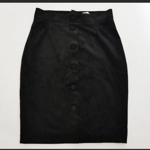 H&M black suede mini skirt